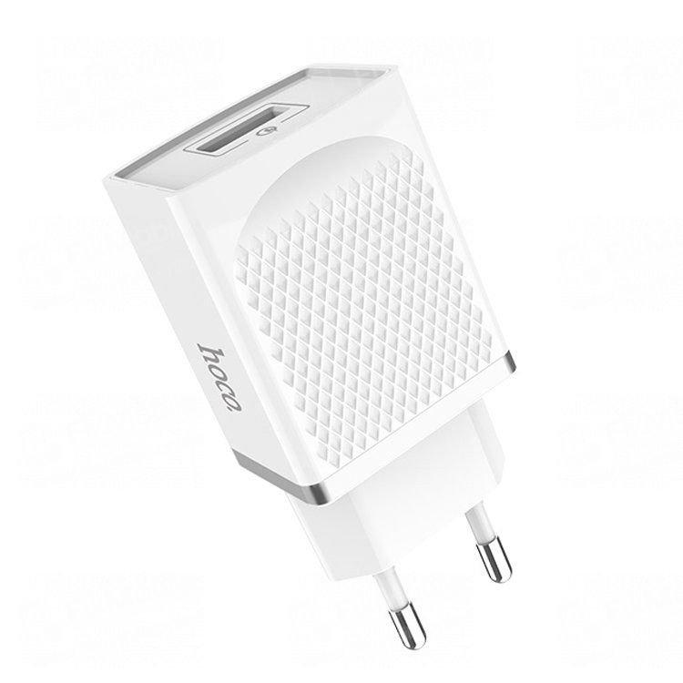 Сетевое зарядное устройство HOCO C42A 2.4A USB (белое)