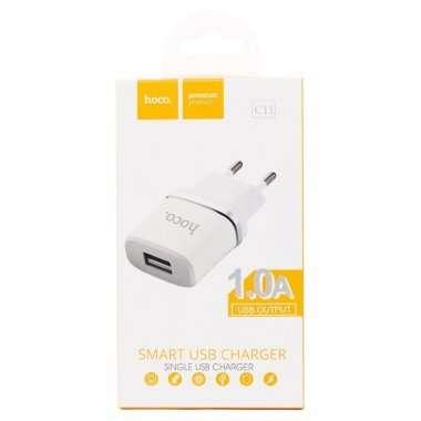 Сетевое зарядное устройство HOCO C11 1A USB (белое) — 3
