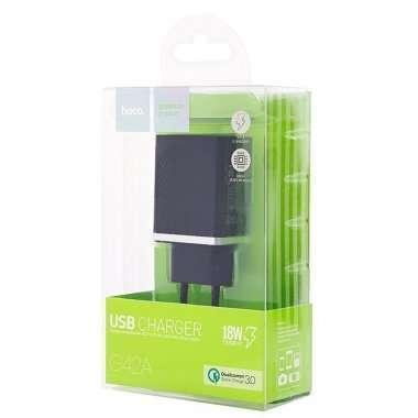 Сетевое зарядное устройство HOCO C42A 2.4A USB (черное) — 6