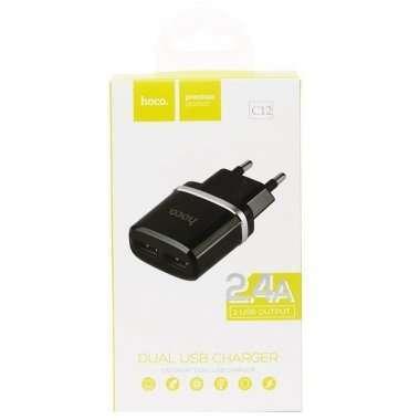 Сетевое зарядное устройство HOCO C12 2USB (черное) — 4