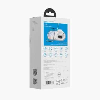 Беспроводное зарядное устройство HOCO CW21 Wisdom 3 в 1 (белое) — 7